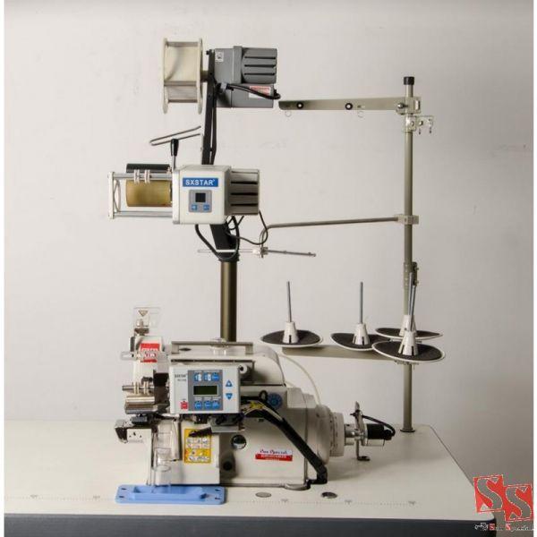 Máquina Costura Industrial Ponto Cadeia Cilíndrica Eletrônica Alimentador Elástico Automática 220v SSQ-90PD-4-2X6-AT-KS-MDK - Sun Special